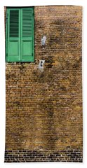 Bath Towel featuring the photograph Green Door by Chris Coffee