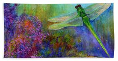 Green Dragonfly Hand Towel by Claire Bull