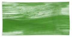 Green Drift- Abstract Art By Linda Woods Hand Towel