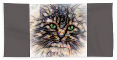 Bath Towel featuring the digital art Green Eye Kitty Square by Terry DeLuco