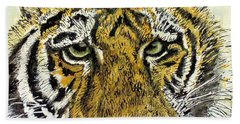 Green Eyed Tiger Hand Towel by Laurie Rohner