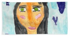Bath Towel featuring the painting Green Eyes by Artists With Autism Inc