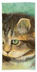 Green Eyes Hand Towel by Terry Webb Harshman