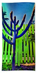 Bath Towel featuring the painting Green Fence by Joan Reese