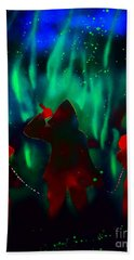 Green Flames In The Night Hand Towel by Justin Moore