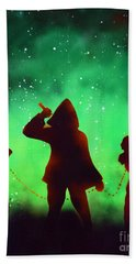 Green Fog And Stars Hand Towel by Justin Moore