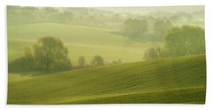 Hand Towel featuring the photograph Green Foggy Waves by Jenny Rainbow