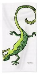 Hand Towel featuring the painting Green Gecko  by Darice Machel McGuire