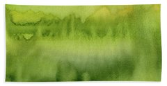 Green Gold Forest Abstract Watercolor Bath Towel
