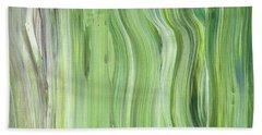 Green Gray Organic Abstract Art For Interior Decor II Hand Towel