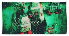 Green Grunge Comic Robots Hand Towel