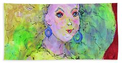 Bath Towel featuring the painting Green Hair Don't Care by Claire Bull