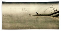 Green Heron In Dawn Mist Hand Towel by Kathy Barney
