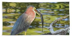 Green Heron With Fish Hand Towel