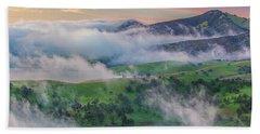 Green Hills And Fog At Sunrise Hand Towel