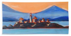 Hand Towel featuring the painting Green Island Lighthouse by Yulia Kazansky