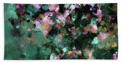 Green Landscape Painting In Minimalist And Abstract Style Bath Towel by Ayse Deniz