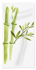Bamboo Leaves, Green Living Room Wall Decor, Watercolor Painting  Hand Towel