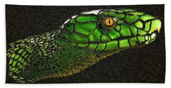 Green Mamba Snake Bath Towel by Michael Cleere