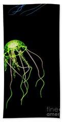 Green Neon Jellyfish Bath Towel