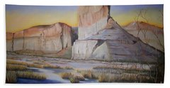 Bath Towel featuring the painting Green River Wyoming by Marlene Book
