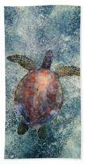 Green Sea Turtle From Above Bath Towel