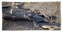 Bath Towel featuring the photograph Green Sea Turtle Hatchling by Breck Bartholomew