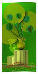 Green Still Life With Abstract Flowers, Bath Towel