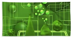 Hand Towel featuring the digital art Green Still Life With Freen Bubbles by Alberto RuiZ