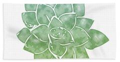 Green Succulent 1- Art By Linda Woods Bath Towel
