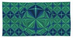 Green Symmetrical Pattern, Kaleidoscope Bath Towel