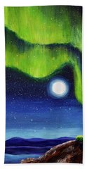 Green Tara Creating The Aurora Borealis Bath Towel