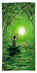 Green Tara In The Hall Of Bamboo Hand Towel