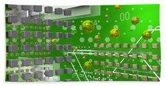 Hand Towel featuring the digital art Green Tech Space by Alberto RuiZ