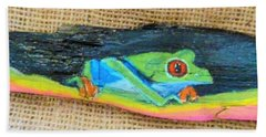 Green Tree Frog Bath Towel by Ann Michelle Swadener