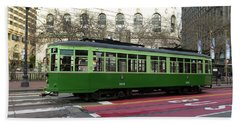 Hand Towel featuring the photograph Green Trolley by Steven Spak