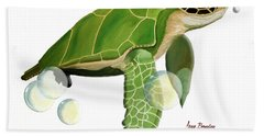 Green Turtle Hand Towel by Anne Beverley-Stamps