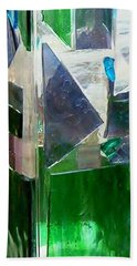 Hand Towel featuring the glass art Green Vase by Jamie Frier