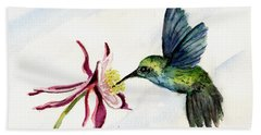Green Violet-ear Hummingbird Bath Towel by Sam Sidders