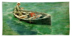 Hand Towel featuring the painting Green Waters by Henry Scott Tuke