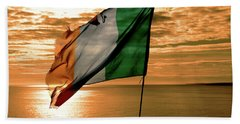 Flag Of Ireland At The Cliffs Of Moher Bath Towel
