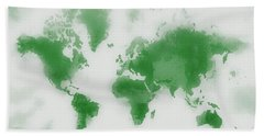 Green World Map Bath Towel