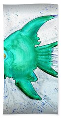 Hand Towel featuring the mixed media Greenfish by Walt Foegelle