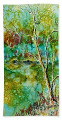 Hand Towel featuring the painting Greens Of Late Summer by Carolyn Rosenberger