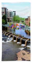 Hand Towel featuring the photograph Greenville River Walk by Corinne Rhode