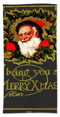 Hand Towel featuring the digital art Greetings From Santa by Asok Mukhopadhyay
