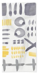 Grey And Yellow Shapes- Abstract Painting Hand Towel