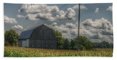 0013 - Grey Barn In A Cornfield Hand Towel