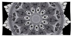 Grey Bubbley Eyes Mandala Hand Towel by Wernher Krutein