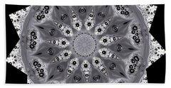 Grey Bubbley Eyes Mandala Bath Towel